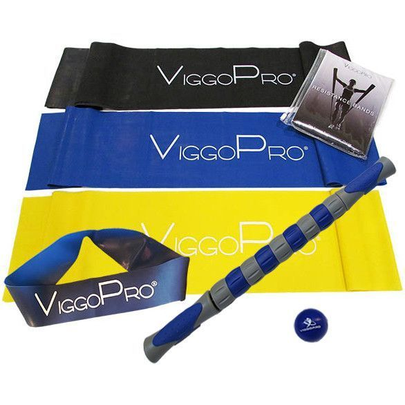 ViggoPro Combo Pack - 18 Inch Massage Roller Stick, Relief Ball, 3 flat 5 foot Resistance Bands & 1 Loop Band