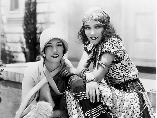 the flapper and the gypsy : )  Lupe Velez and Dolores Del Rio - iconic Mexican actresses - here during the silent film era.