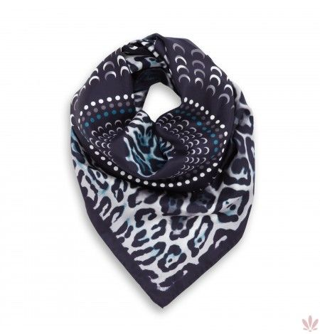 Caleido Leo Black & White Square Scarf Artisan crafted 100% twill silk square scarf with machine-hand crafted borders, made in Italy. Free UPS courier delivery (1 - 4 days)
