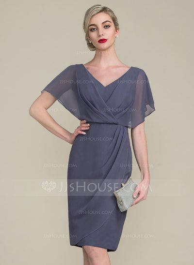 [US$ 84.19] Mom dress. Sheath/Column V-neck Knee-Length Chiffon Mother of the Bride Dress With Ruffle