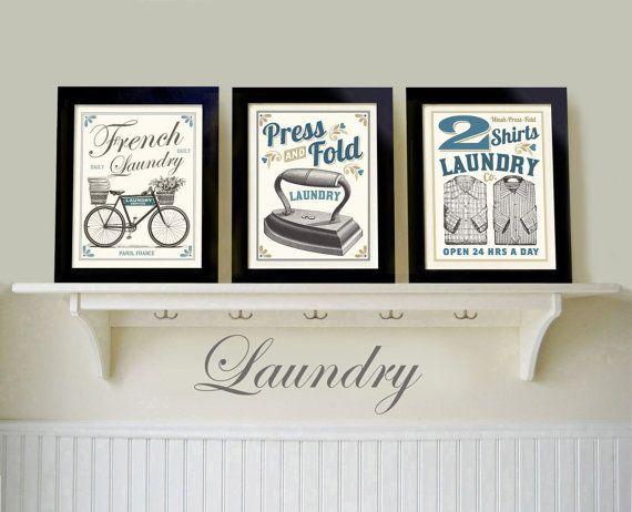 Servizio Lavanderia Camera Arte Vecchia Stampe Stile Country Francese Arte Foto Set Di 3 Bagno Decorazione Lavare Stirare Nuovo Regalo Casa Country