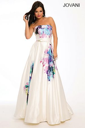 Multicolored A-Line Satin Gown 23812