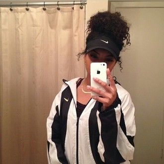 jacket nike visor nike air nike jacket nike black white coat windbreaker hat visor gold gold necklace necklace ring jewels fashion style outfit instagram outfit idea tumblr vintage vintage pullover stripes striped jacket iphone case accessories pullover black and white