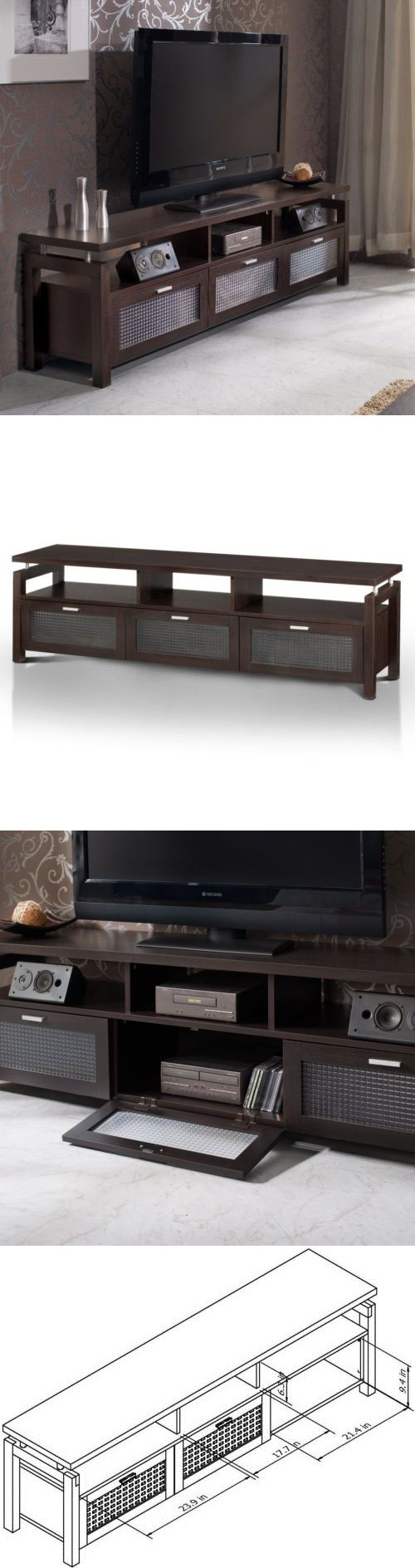 Entertainment Units TV Stands: Furniture Of America Bauston Espresso Entertainment Console 70-Inch Tv Stand -> BUY IT NOW ONLY: $243.85 on eBay!