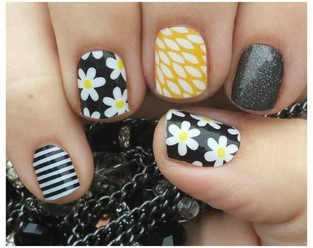 Simply Daisy, Sunny Lotus, Tungsten, black and white stripe wraps by Jamberry Nails