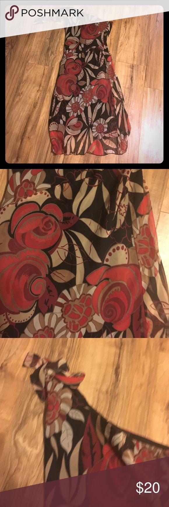 One strap dress Black and red floral print midi dress Dresses One Shoulder