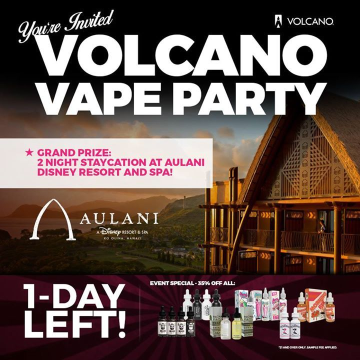 Only 1 DAY LEFT until the first-ever VOLCANO VAPE PARTY. 🎉 See YOU tomorrow!  Saturday, October 8th VOLCANO Ewa Beach 5:30 - 10:00PM  ENTER TO WIN GRAND PRIZE: 2 Night Stay at Disney Aulani   ➡ Cruise with the 808 Vape Scene ➡ Thousands of dollars in Raffles & Prizes ➡ Music by 102.7 Da Bomb   MEET & GREET: ➡ Beard Vape Co. ➡ Charlie's Chalk Dust ➡ Arc Distro