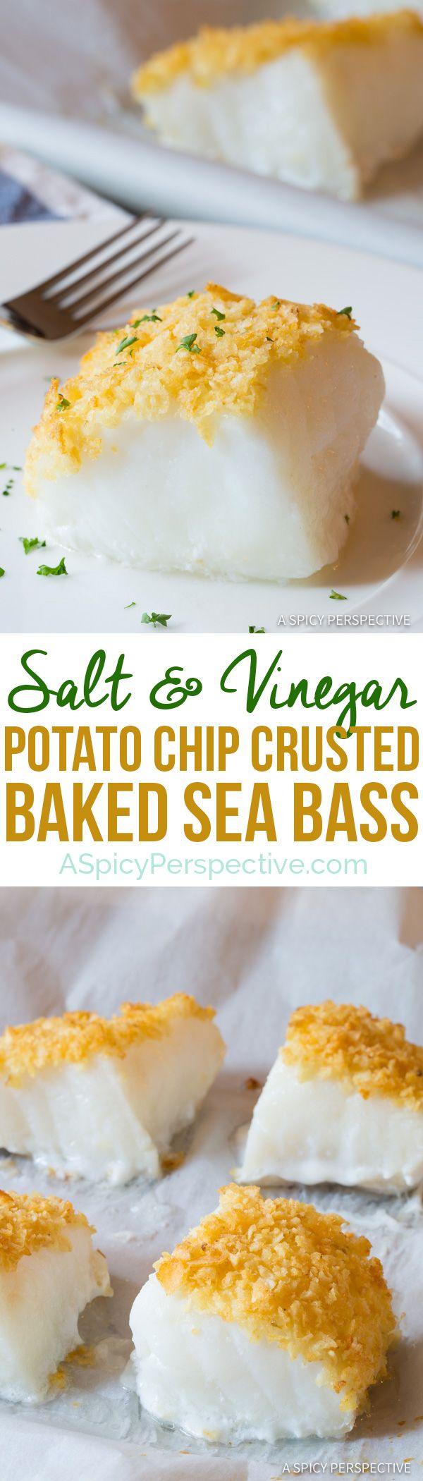 3-Ingredient Salt and Vinegar Potato Chip Crusted Baked Sea Bass Recipe | ASpicyPerspective.com via @spicyperspectiv