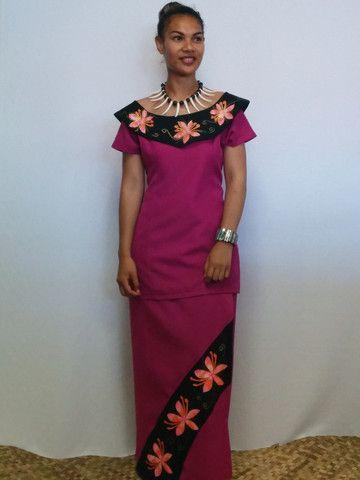 Pink & Black Off-shoulder Frangipani Puletasi