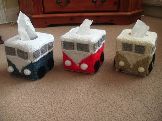 VW Camper Van Knitted tissue box cover by SomptingSnugglies, £12.50