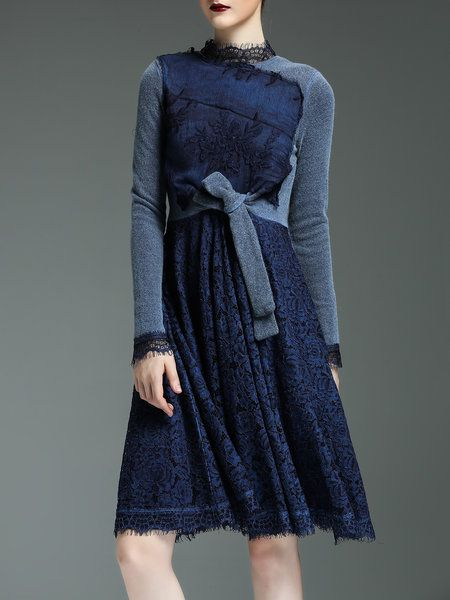 Shop Midi Dresses - Dark Blue Guipure Lace Elegant A-line Midi Dress online. Discover unique designers fashion at StyleWe.com.