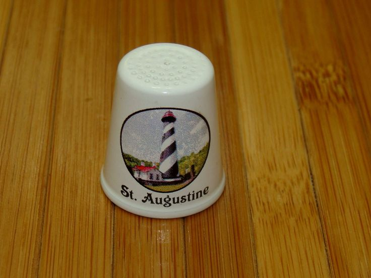 Vintage lighthouse thimble-st augustine lighthouse thimble-amish kraft thimble-amish craft thimble-old sewing thimble-enamel metal thimble by BECKSRELICS on Etsy