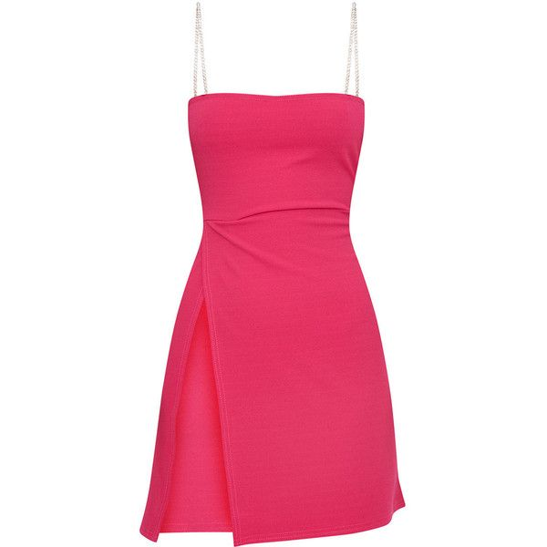 Fuchsia Diamante Strap Straight Neck Bodycon Dress (€22) ❤ liked on Polyvore featuring dresses, bodycon dress, body con dress, pink dress, pink bodycon dress and pink body con dress