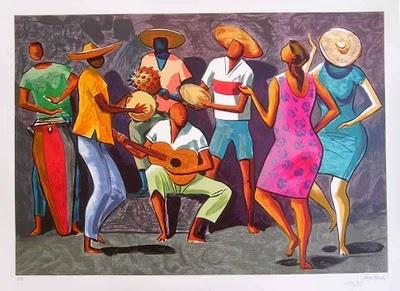 """""""Roda de Samba"""" - Carybé  (Hector Julio Páride Bernabó) (Lanús, 7.02.1911 - Salvador, 02.10.1997) foi um pintor, gravador, desenhista, ilustrador, ceramista, escultor, muralista, pesquisador, historiador e jornalista argentino, naturalizado brasileiro."""