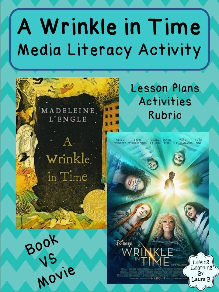 A Wrinkle in Time media literacy activity. Compare the book and movie and create a movie poster for a favorite book. Includes lesson ideas, student booklet, poster assignment, and rubric. Literacy, media, and visual arts cross-curricular resource.