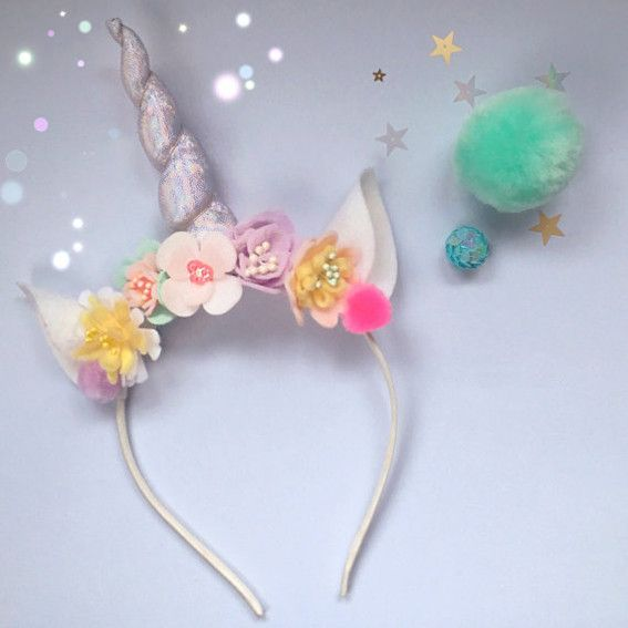 Unicorn Horn Flower Crown Headband                                                                                                                                                                                 More