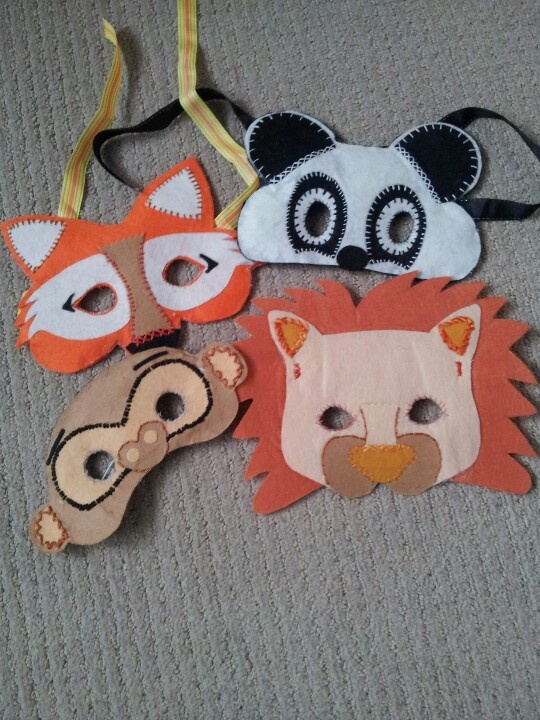 Handmade felt masks that I made for my nieces and nephews for Christmas presents, Carol Russell via mobile phone