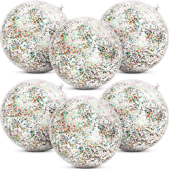 12-inch Opaque Blue Shimmer Beach Ball Beachballs