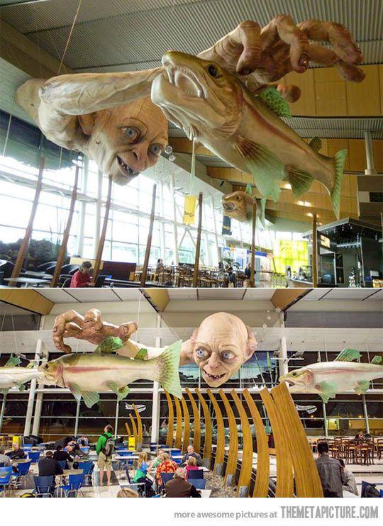 Gollum Statue In A New Zealand Airport            w h a t