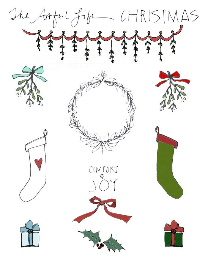 free christmas clip art, printables for art journal friday!