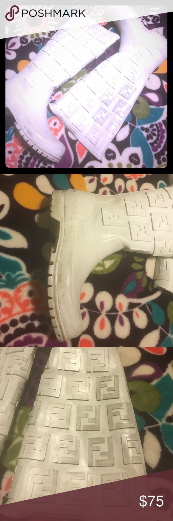 Fendi Rainboots White rain boots, loved and weathered the rain! ☔️ Says size 36 BUT fits a size 7 or 7.5. Comfortable with thick socks. Fendi Shoes Winter & Rain Boots