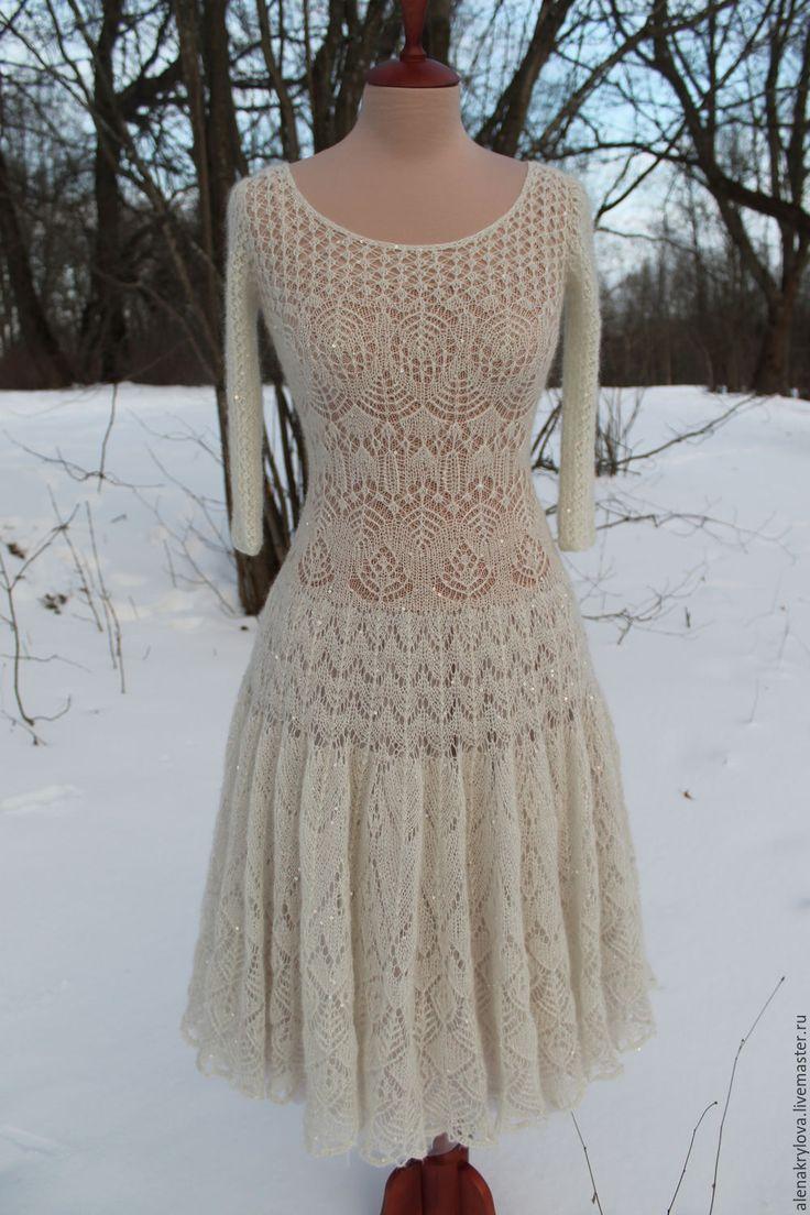 Купить Ажурное платье из мохера - молочный цвет, пудровый цвет, пайетки, кид-мохер