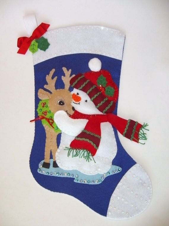 Stocking Snowman with Deer Christmas Holiday Newly Completed Vintage Felt Kit