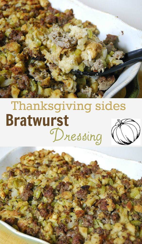 www.creativemeinspiredyou.com Bratwurst dressing that is a heavenly side for Thanksgiving! Every time I make this, the bowl is empty! Dressing, stuffing, bratwurst, brats, sausage, side dish, Thanksgiving, meal, dinner, holiday, pot luck, meat lovers.