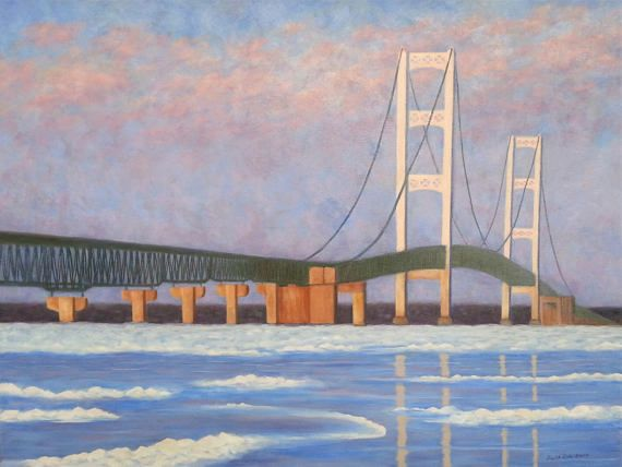 Mackinac Bridge Oil Painting Mackinac bridge painting