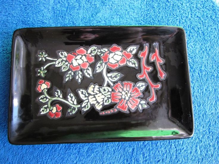 Vintage Plate Dish Flowers Black red yellow enamel