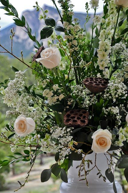 Large Wedding Centerpiece With Ivory Roses White Larkspur Queen Annes Lace Dried Lotus