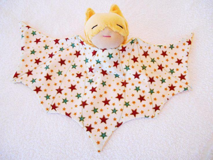 Doudou super héros,chauve souris, bat doudou jaune : Jeux, jouets par petites-chiffonneries