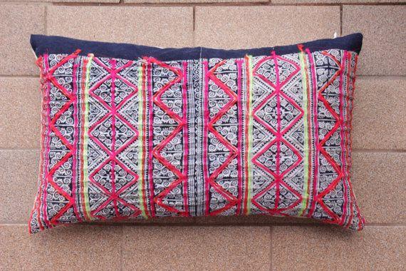 Boho Bohemian Rare VINTAGE HMONG Textile Batik Patch Work Embroidered Ethnic Textile Striped Pink & Blue Navy Nautical Pillow Case