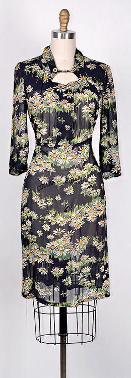 ★ vintage 1940s dress | Field of Daisies Dress