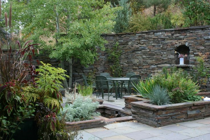 small patio  sitting area  | Courtyard Garden Sitting Area and Stone Wall by Native Design, Helena ...