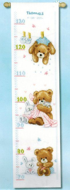 Vervaco Lovely Bears Birth Sampler - Cross Stitch Kit. Growth Chart/Birth Sampler. Complete kit includes 14 Ct. White Aida, thread, needle, chart and instructio