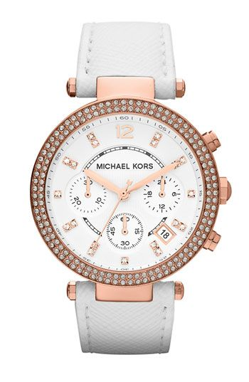 Michael Kors 'Parker' Chronograph Leather Watch White/ Rose Gold. ive wanted one of these for years!
