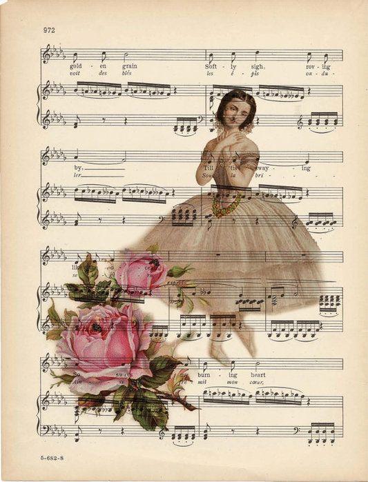 Notas musicales con rosas y bailarina | Aprender manualidades es facilisimo.com