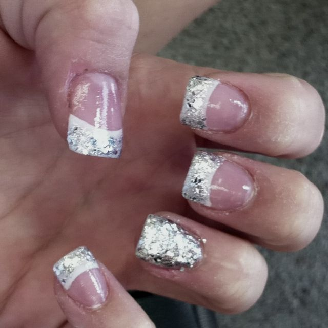 White tip with glitter you can buy from Michaels or any art store....might use for my wedding nails depending on what it looks like when I do it myself