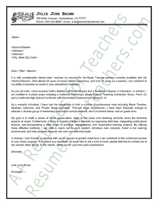 music teacher cover letter sample - Cover Letter For Teacher Position