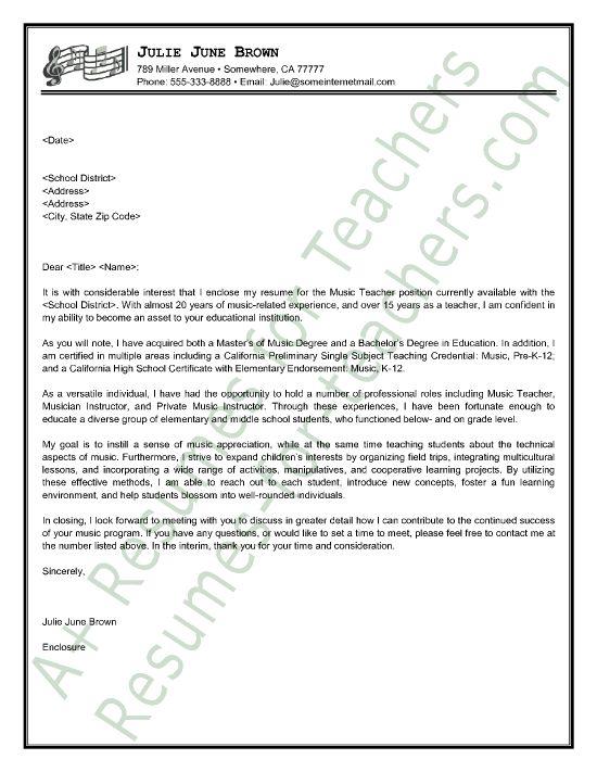 music teacher cover letter sample - Writing A Resume Cover Letter