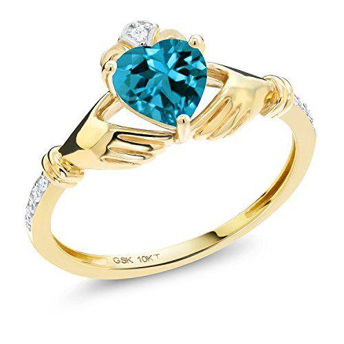 1 01 Ct Irish Celtic Claddagh London Blue Topaz Diamond Accent 10k Yel Gold Rings Online Blue Topaz Diamond Gold Ring Price