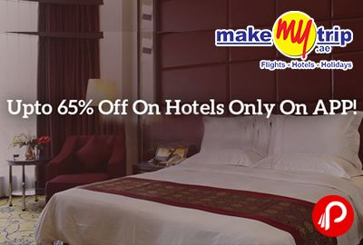 MakeMyTrip is offering Upto 65% off on #Hotels on app. Valid for #bookings made on MakeMyTrip's Android and iOS App only. MMT Coupon Code – HTLSPECIAL  http://www.paisebachaoindia.com/upto-65-off-on-hotels-makemytrip/
