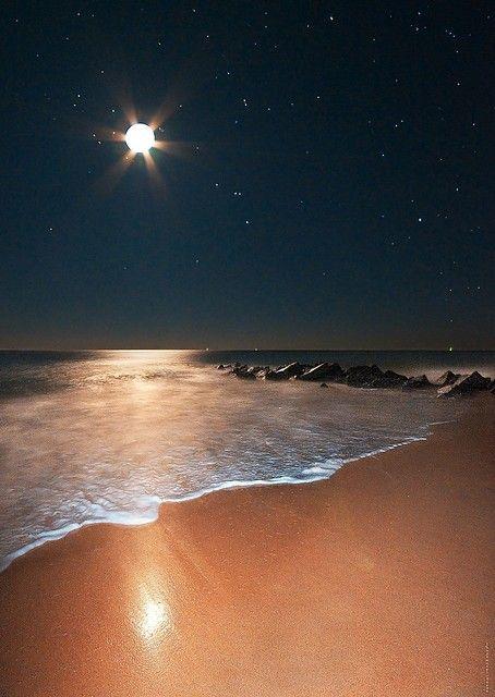 Ocean Moonrise Vilano Beach Florida At NightThe