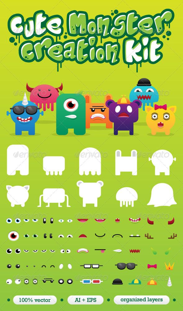 Monster Creation Set  #GraphicRiver         A fun customizable character kit for creating your own cute monsters which can be used for web, logo, stickers, avatars, etc.  	 These monster parts consist of bodies, eyes, mouths and accessories.