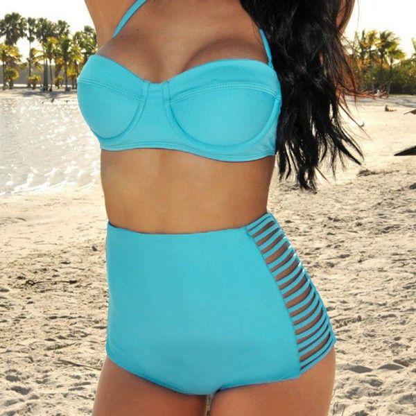 Swimsuit Swimwear Vintage Push Up High Waist Bikini Set mine this summer