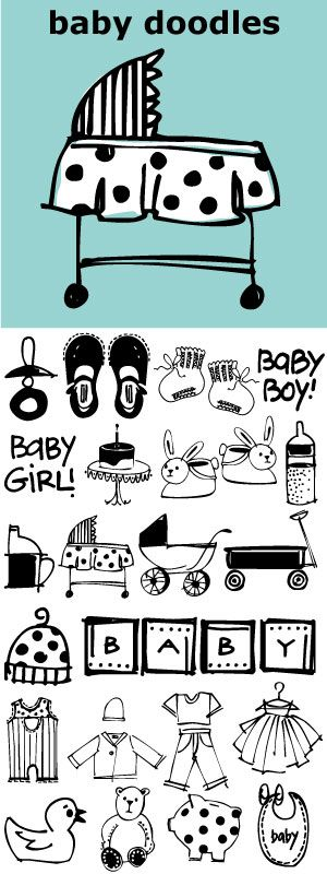Fun, little illustrations of baby stuff. 27 darling doodle-like baby illustrations and 3 script and printed baby titles. http://www.outside-the-line.com/shop/baby-doodles/
