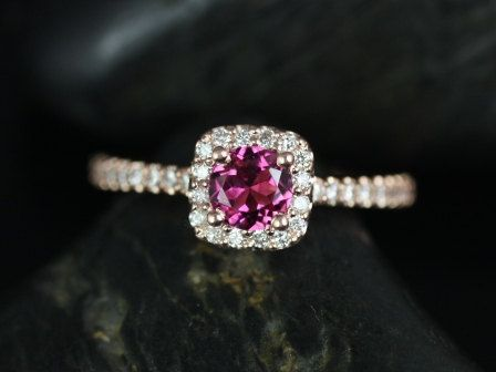 Mikena 14kt Rose Gold Tourmaline and Diamonds Cushion Halo Engagement Ring (Other metals and stone options available)