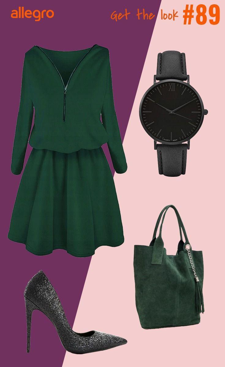 Sukienka Zielona Sukienka Z Suwakiem Czarny Zegarek Torebka Pojemna Cekinowe Czolenka Fashion Polyvore Polyvore Image