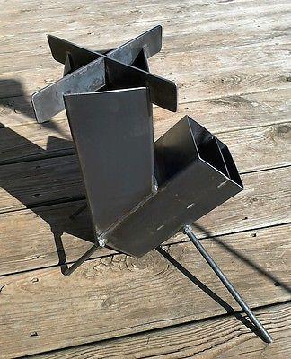 Combustión de madera Cohete Estufa de autoservicio de alimentación para Camping Prepper Caza shtf in | eBay